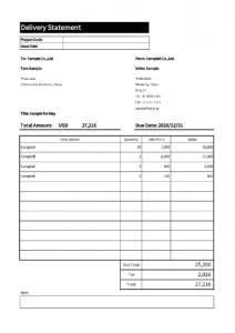 請求書、見積書、発注書、納品書、検収書のエクセル雛形テンプレート無料ダウンロード 納品書_英語テンプレート_004納品書4英語大きさ揃え